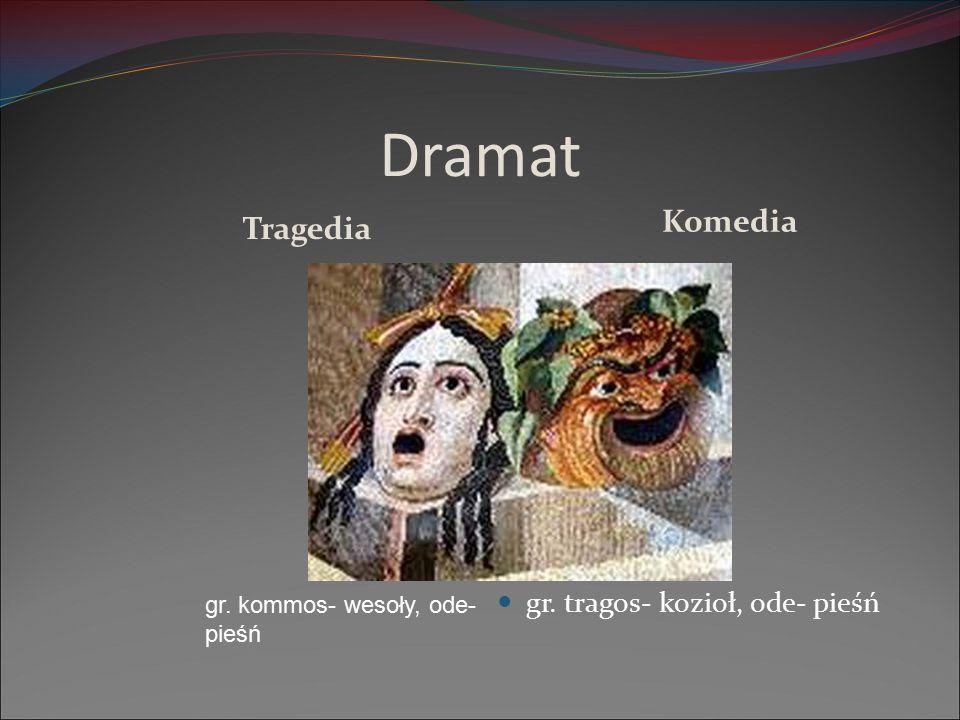 Dramat Komedia Tragedia gr. tragos- kozioł, ode- pieśń gr. kommos- wesoły, ode- pieśń