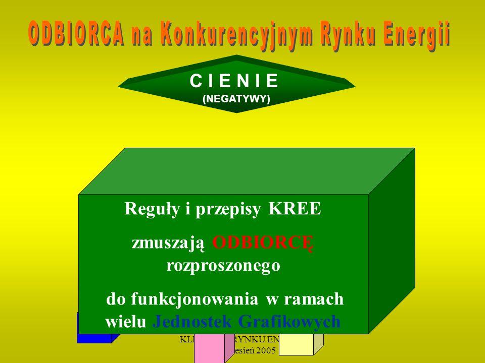 KLIENT NA RYNKU ENERGII 19 wrzesień 2005 C I E N I E (NEGATYWY) Reguły i przepisy KREE zmuszają ODBIORCĘ rozproszonego do funkcjonowania w ramach wielu Jednostek Grafikowych