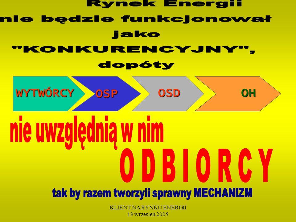 KLIENT NA RYNKU ENERGII 19 wrzesień 2005 WYTWÓRCY OSD OSD OH OH OSP