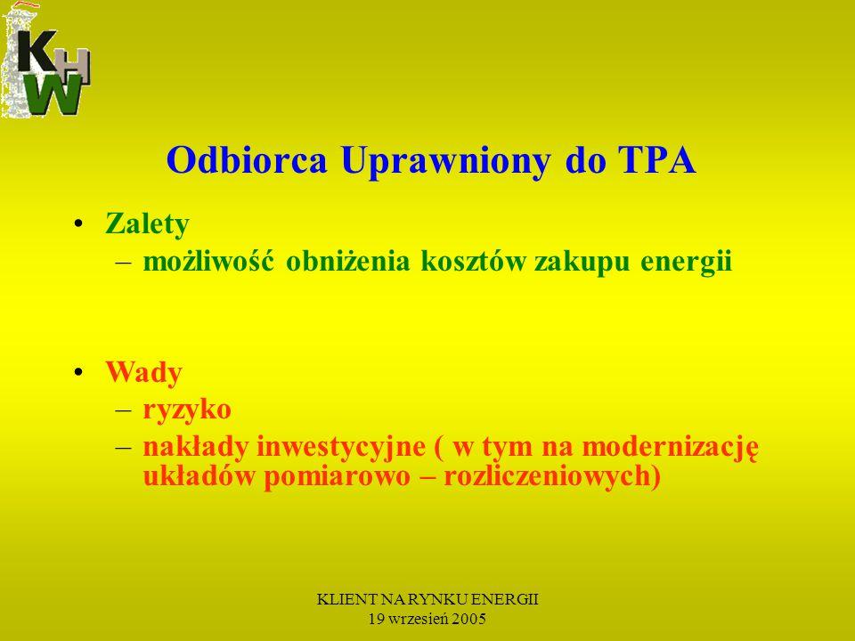 KLIENT NA RYNKU ENERGII 19 wrzesień 2005 Zalety –możliwość obniżenia kosztów zakupu energii Wady –ryzyko –nakłady inwestycyjne ( w tym na modernizację układów pomiarowo – rozliczeniowych) Odbiorca Uprawniony do TPA