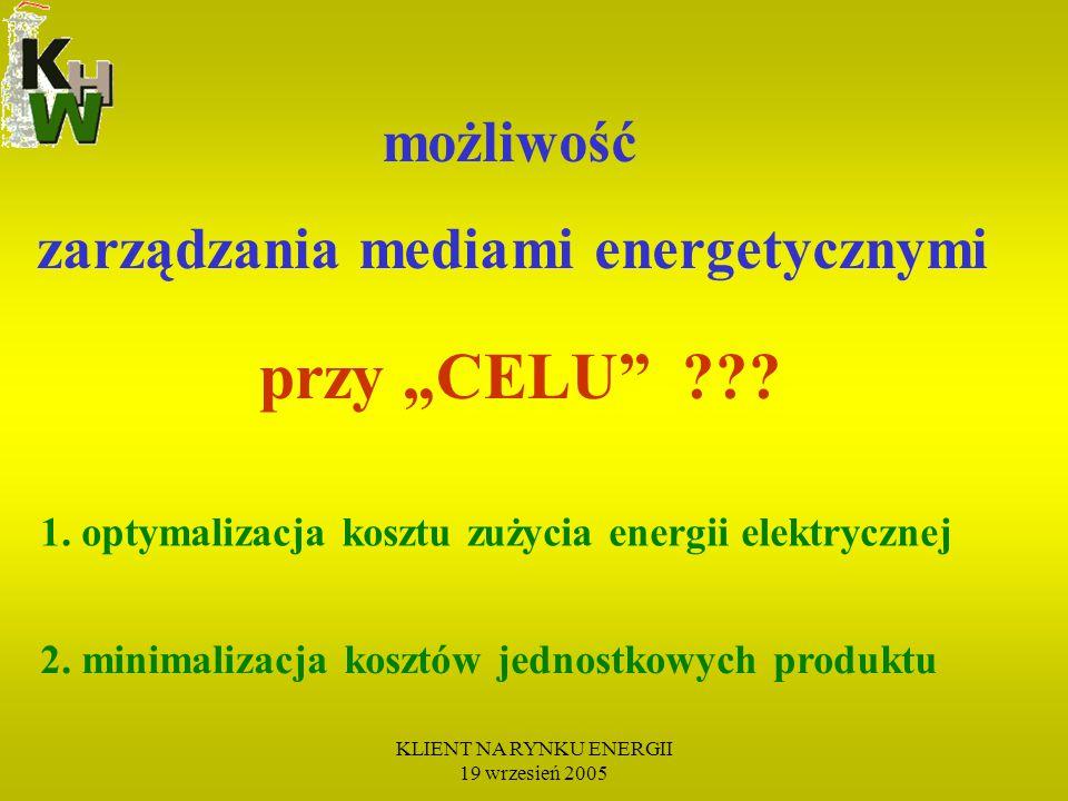 KLIENT NA RYNKU ENERGII 19 wrzesień 2005 B L A S K I (pozytywy) Uzyskanie optymalnej ceny energii elektr.
