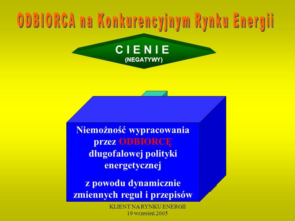 KLIENT NA RYNKU ENERGII 19 wrzesień 2005 C I E N I E (NEGATYWY) Drenażowy charakter reguł cenotwórczych Rynku Bilansującego (Poziom cen RB nie odzwierciedla kosztów Wytwórców oraz konkurencyjnych cen na Rynku Energii)