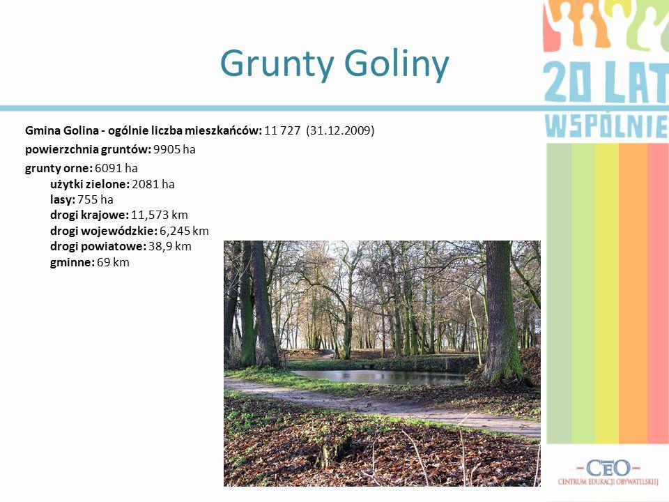 Grunty Goliny Gmina Golina - ogólnie liczba mieszkańców: 11 727 (31.12.2009) powierzchnia gruntów: 9905 ha grunty orne: 6091 ha użytki zielone: 2081 h