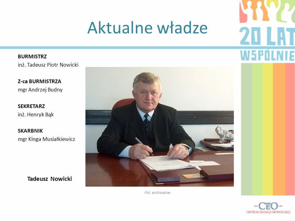 Aktualne władze BURMISTRZ inż.