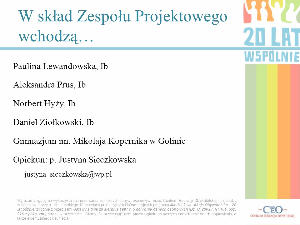 Paulina Lewandowska, Ib Aleksandra Prus, Ib Norbert Hyży, Ib Daniel Ziółkowski, Ib Gimnazjum im.