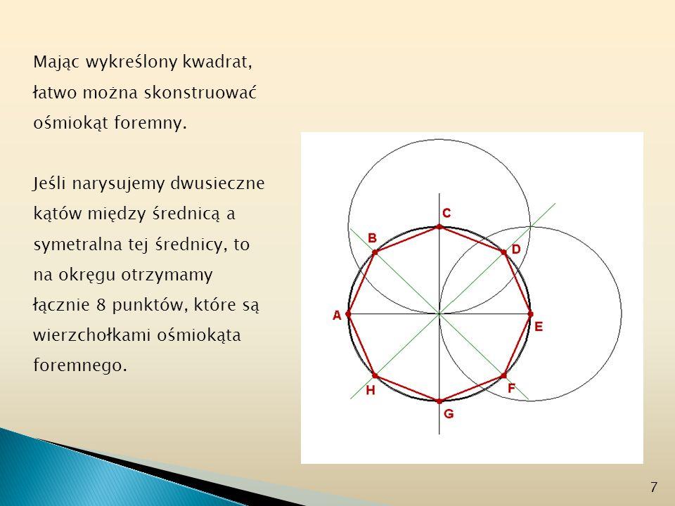 Mając wykreślony kwadrat, łatwo można skonstruować ośmiokąt foremny. Jeśli narysujemy dwusieczne kątów między średnicą a symetralna tej średnicy, to n