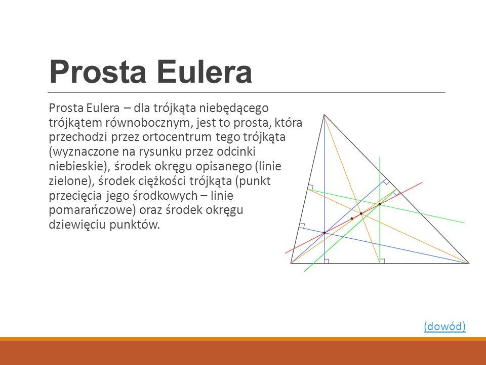 Prosta Eulera Prosta Eulera – dla trójkąta niebędącego trójkątem równobocznym, jest to prosta, która przechodzi przez ortocentrum tego trójkąta (wyzna