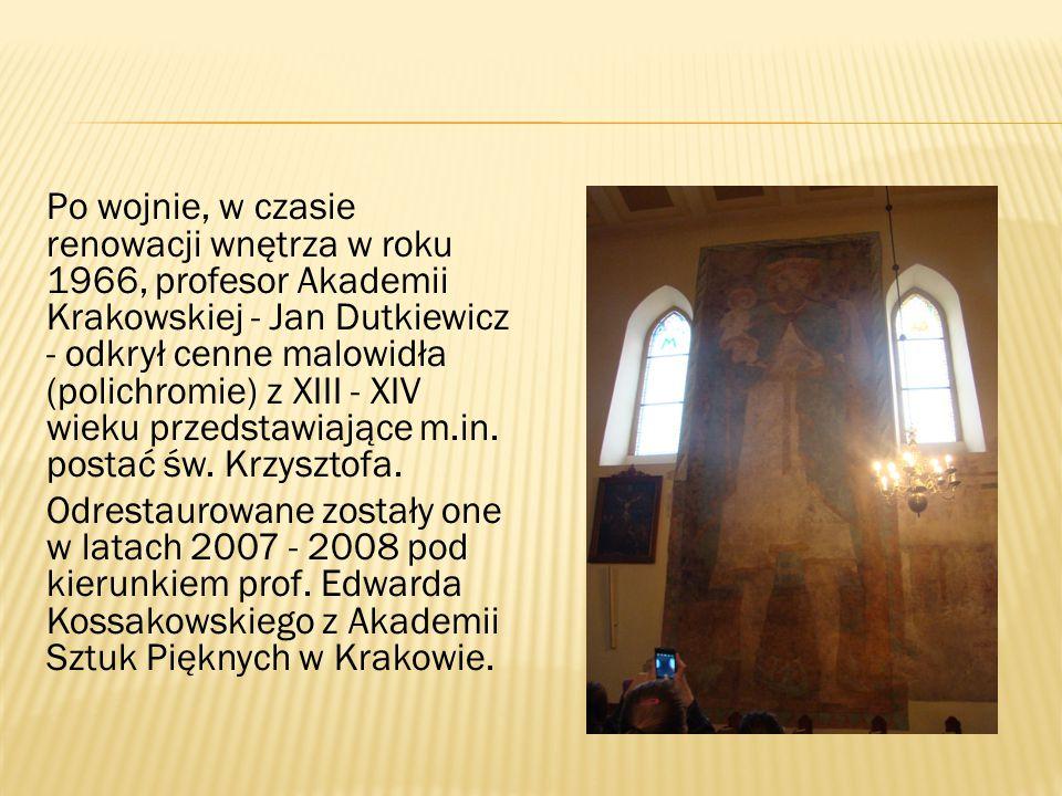 Po wojnie, w czasie renowacji wnętrza w roku 1966, profesor Akademii Krakowskiej - Jan Dutkiewicz - odkrył cenne malowidła (polichromie) z XIII - XIV
