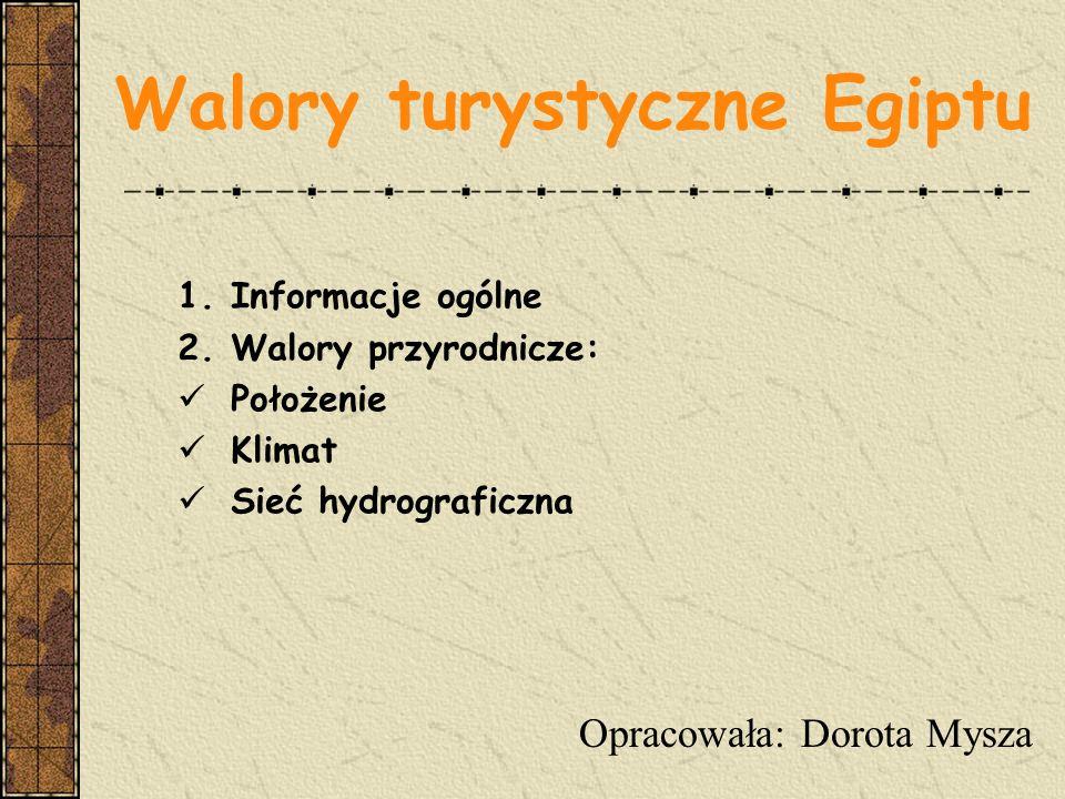 Walory turystyczne Egiptu 1.Informacje ogólne 2.Walory przyrodnicze: Położenie Klimat Sieć hydrograficzna Opracowała: Dorota Mysza