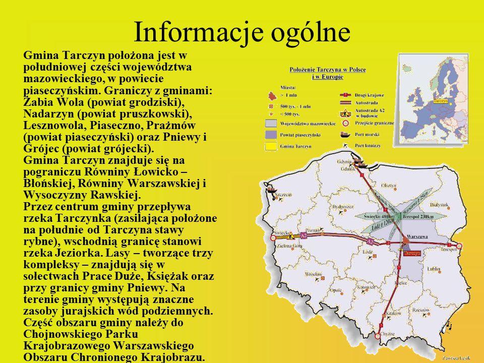 Informacje ogólne Gmina Tarczyn położona jest w południowej części województwa mazowieckiego, w powiecie piaseczyńskim. Graniczy z gminami: Żabia Wola