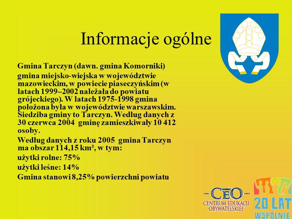 Informacje ogólne Gmina Tarczyn (dawn. gmina Komorniki) gmina miejsko-wiejska w województwie mazowieckim, w powiecie piaseczyńskim (w latach 1999–2002