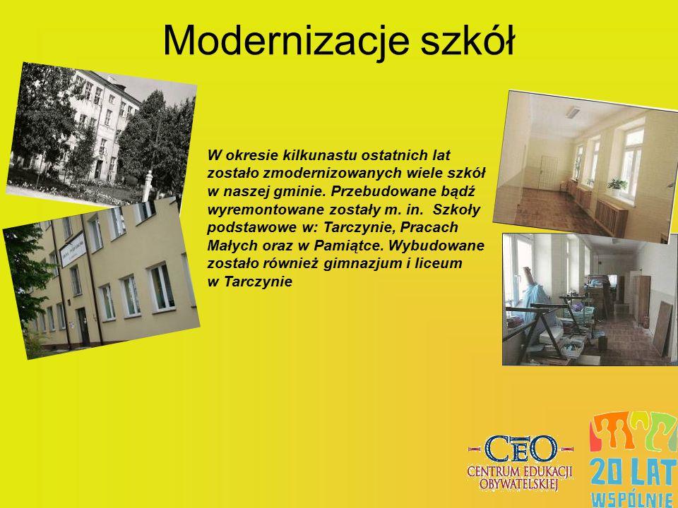 Modernizacje szkół W okresie kilkunastu ostatnich lat zostało zmodernizowanych wiele szkół w naszej gminie. Przebudowane bądź wyremontowane zostały m.