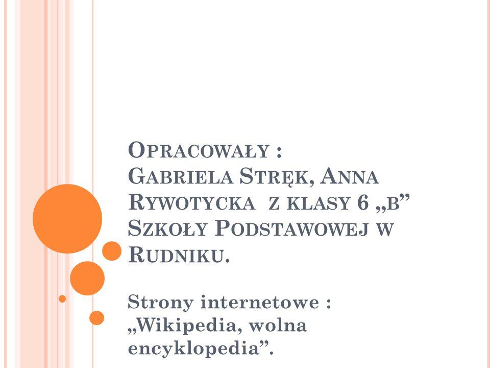 """O PRACOWAŁY : G ABRIELA S TRĘK, A NNA R YWOTYCKA Z KLASY 6 """" B """" S ZKOŁY P ODSTAWOWEJ W R UDNIKU. Strony internetowe : """"Wikipedia, wolna encyklopedia"""""""