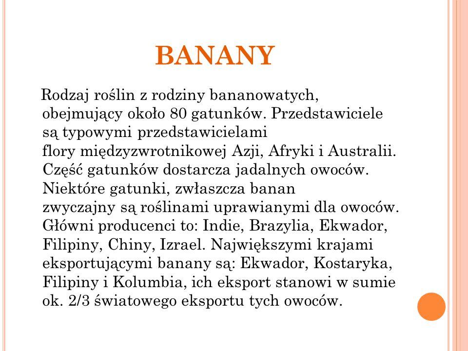 BANANY Rodzaj roślin z rodziny bananowatych, obejmujący około 80 gatunków. Przedstawiciele są typowymi przedstawicielami flory międzyzwrotnikowej Azji