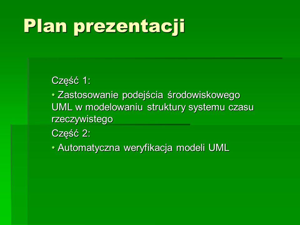 Plan prezentacji Część 1: Zastosowanie podejścia środowiskowego UML w modelowaniu struktury systemu czasu rzeczywistego Zastosowanie podejścia środowiskowego UML w modelowaniu struktury systemu czasu rzeczywistego Część 2: Automatyczna weryfikacja modeli UML Automatyczna weryfikacja modeli UML