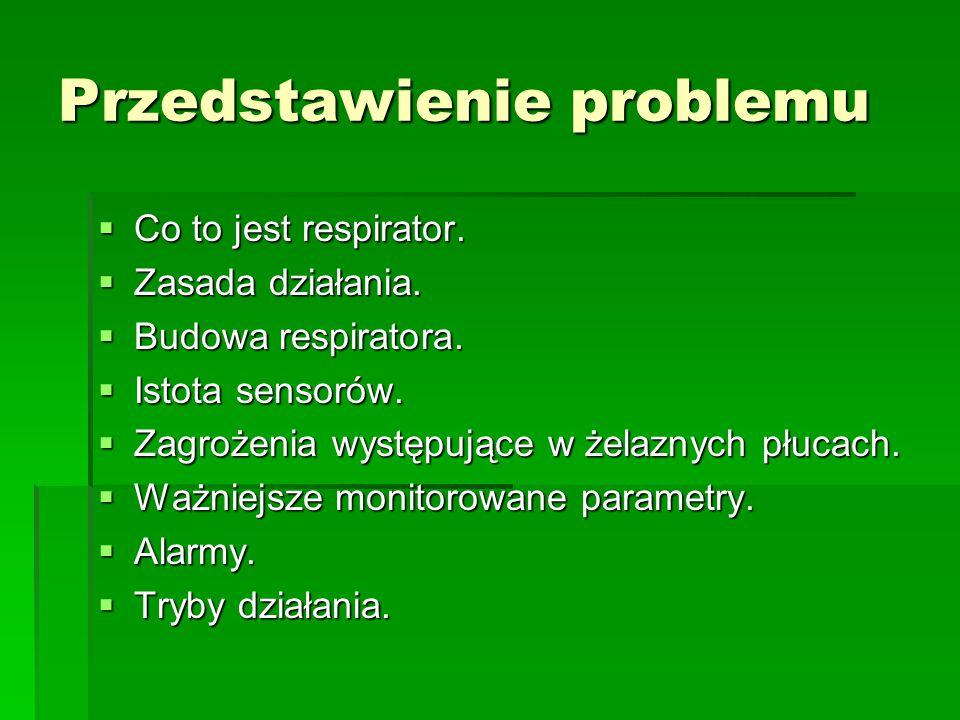 Przedstawienie problemu  Co to jest respirator.  Zasada działania.  Budowa respiratora.  Istota sensorów.  Zagrożenia występujące w żelaznych płu