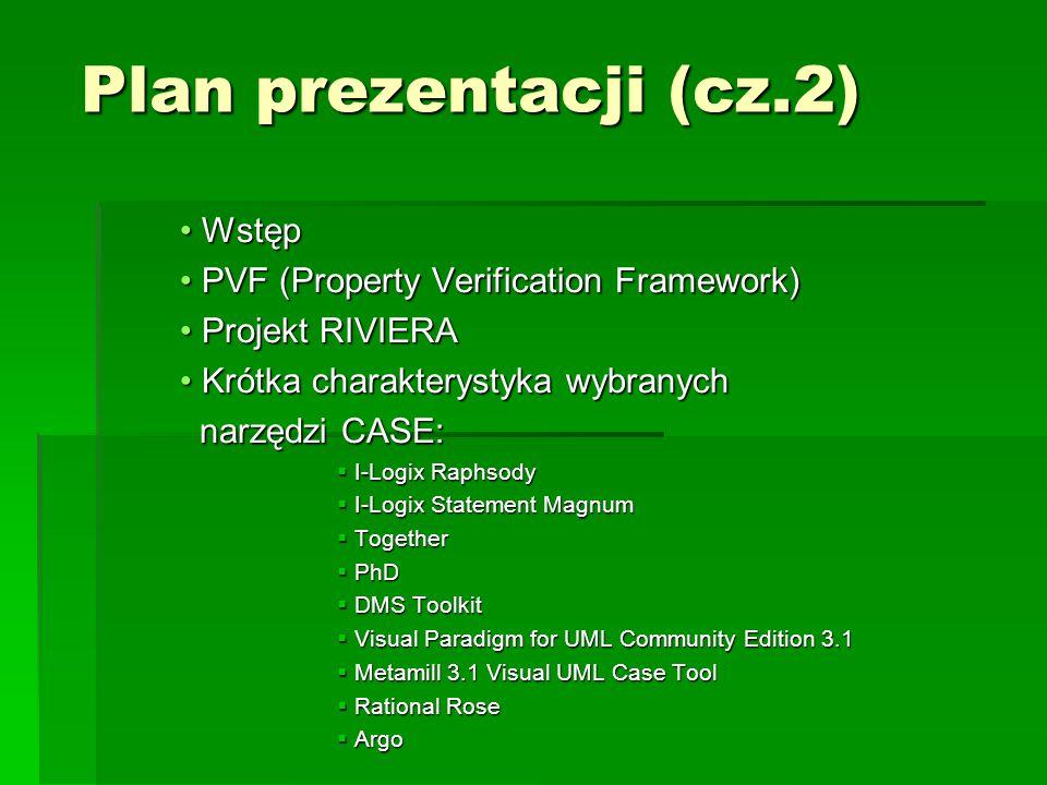 Plan prezentacji (cz.2) Wstęp Wstęp PVF (Property Verification Framework) PVF (Property Verification Framework) Projekt RIVIERA Projekt RIVIERA Krótka charakterystyka wybranych Krótka charakterystyka wybranych narzędzi CASE: narzędzi CASE:  I-Logix Raphsody  I-Logix Statement Magnum  Together  PhD  DMS Toolkit  Visual Paradigm for UML Community Edition 3.1  Metamill 3.1 Visual UML Case Tool  Rational Rose  Argo