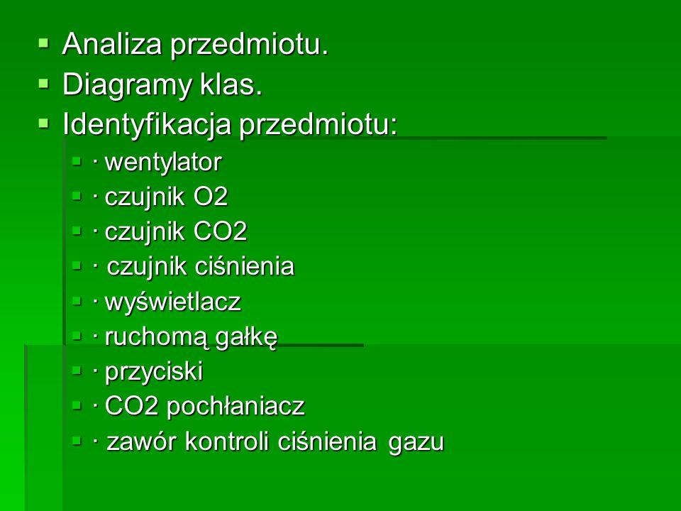  Analiza przedmiotu.  Diagramy klas.  Identyfikacja przedmiotu:  ·wentylator  ·czujnik O2  ·czujnik CO2  · czujnik ciśnienia  ·wyświetlacz  ·