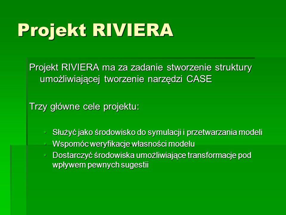 Projekt RIVIERA Projekt RIVIERA ma za zadanie stworzenie struktury umożliwiającej tworzenie narzędzi CASE Trzy główne cele projektu: Służyć jako środowisko do symulacji i przetwarzania modeliSłużyć jako środowisko do symulacji i przetwarzania modeli Wspomóc weryfikacje własności modeluWspomóc weryfikacje własności modelu Dostarczyć środowiska umożliwiające transformacje pod wpływem pewnych sugestiiDostarczyć środowiska umożliwiające transformacje pod wpływem pewnych sugestii