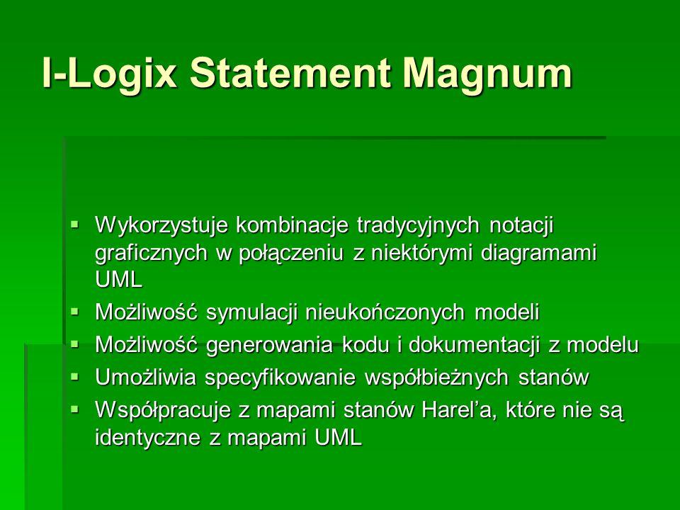 I-Logix Statement Magnum  Wykorzystuje kombinacje tradycyjnych notacji graficznych w połączeniu z niektórymi diagramami UML  Możliwość symulacji nieukończonych modeli  Możliwość generowania kodu i dokumentacji z modelu  Umożliwia specyfikowanie współbieżnych stanów  Współpracuje z mapami stanów Harel'a, które nie są identyczne z mapami UML