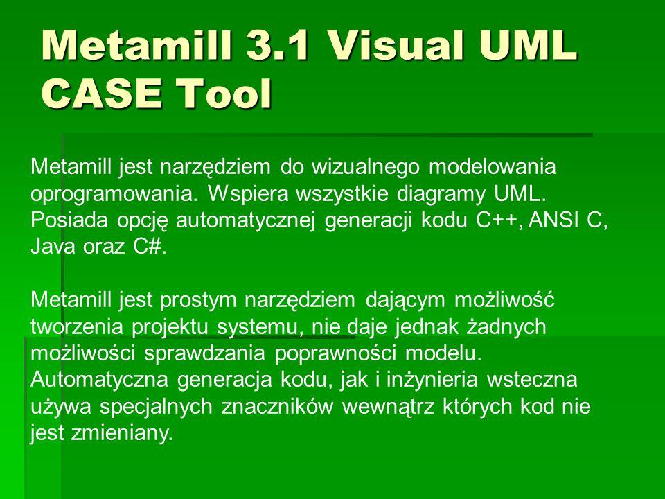 Metamill 3.1 Visual UML CASE Tool Metamill jest narzędziem do wizualnego modelowania oprogramowania. Wspiera wszystkie diagramy UML. Posiada opcję aut