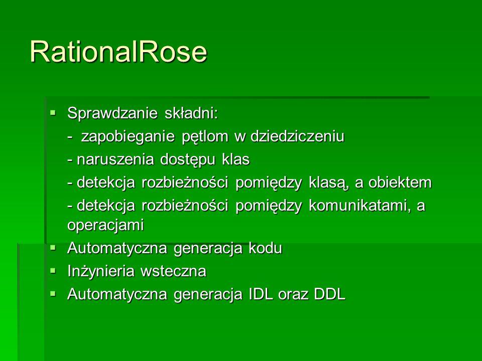 RationalRose  Sprawdzanie składni: - zapobieganie pętlom w dziedziczeniu - naruszenia dostępu klas - detekcja rozbieżności pomiędzy klasą, a obiektem - detekcja rozbieżności pomiędzy komunikatami, a operacjami  Automatyczna generacja kodu  Inżynieria wsteczna  Automatyczna generacja IDL oraz DDL