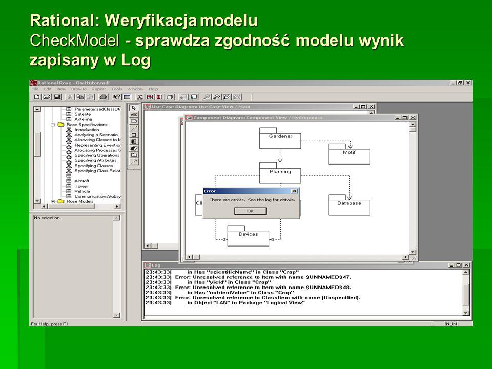 Rational: Weryfikacja modelu CheckModel - sprawdza zgodność modelu wynik zapisany w Log