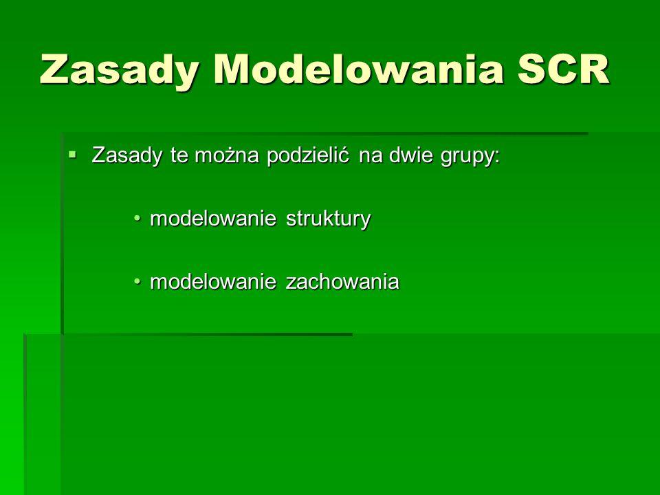 Zasady Modelowania SCR  Zasady te można podzielić na dwie grupy: modelowanie strukturymodelowanie struktury modelowanie zachowaniamodelowanie zachowania