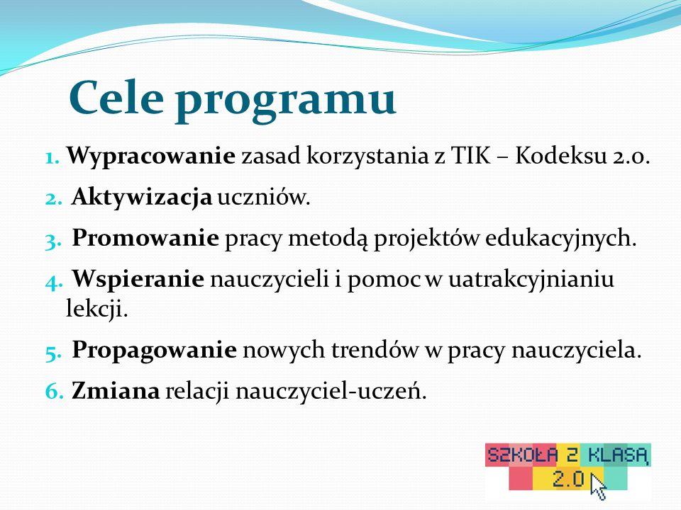 Cele programu 1. Wypracowanie zasad korzystania z TIK – Kodeksu 2.0.