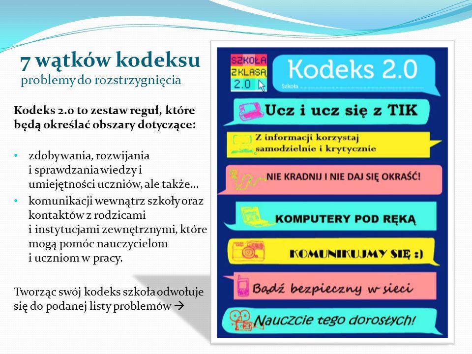 7 wątków kodeksu problemy do rozstrzygnięcia Kodeks 2.0 to zestaw reguł, które będą określać obszary dotyczące: zdobywania, rozwijania i sprawdzania wiedzy i umiejętności uczniów, ale także… komunikacji wewnątrz szkoły oraz kontaktów z rodzicami i instytucjami zewnętrznymi, które mogą pomóc nauczycielom i uczniom w pracy.
