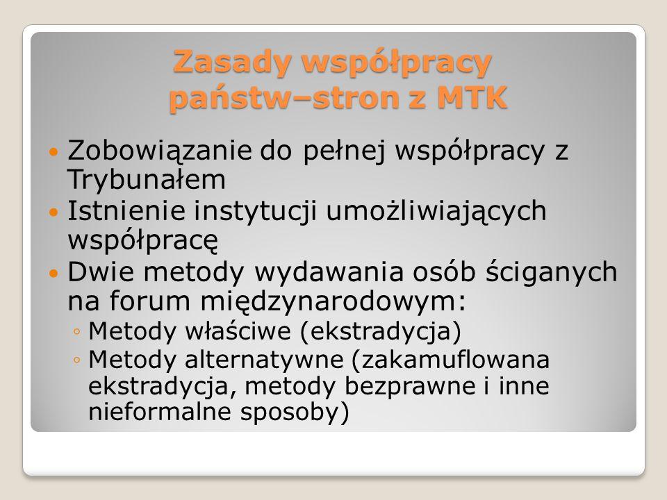 Zasady współpracy państw–stron z MTK Zobowiązanie do pełnej współpracy z Trybunałem Istnienie instytucji umożliwiających współpracę Dwie metody wydawa