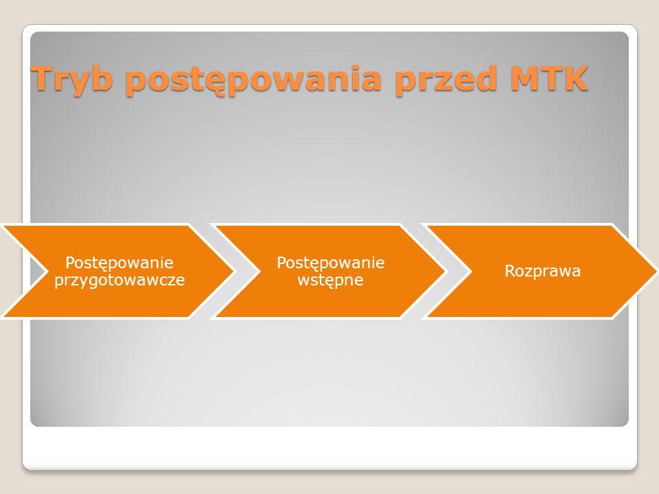 Tryb postępowania przed MTK Postępowanie przygotowawcze Postępowanie wstępne Rozprawa