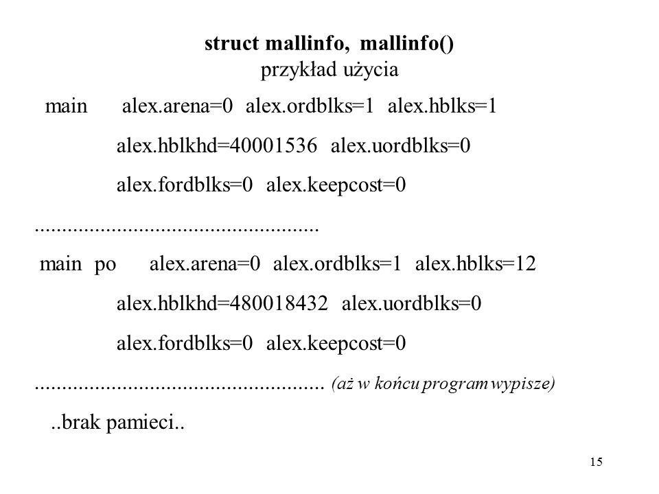 15 struct mallinfo, mallinfo() przykład użycia main alex.arena=0 alex.ordblks=1 alex.hblks=1 alex.hblkhd=40001536 alex.uordblks=0 alex.fordblks=0 alex.keepcost=0....................................................