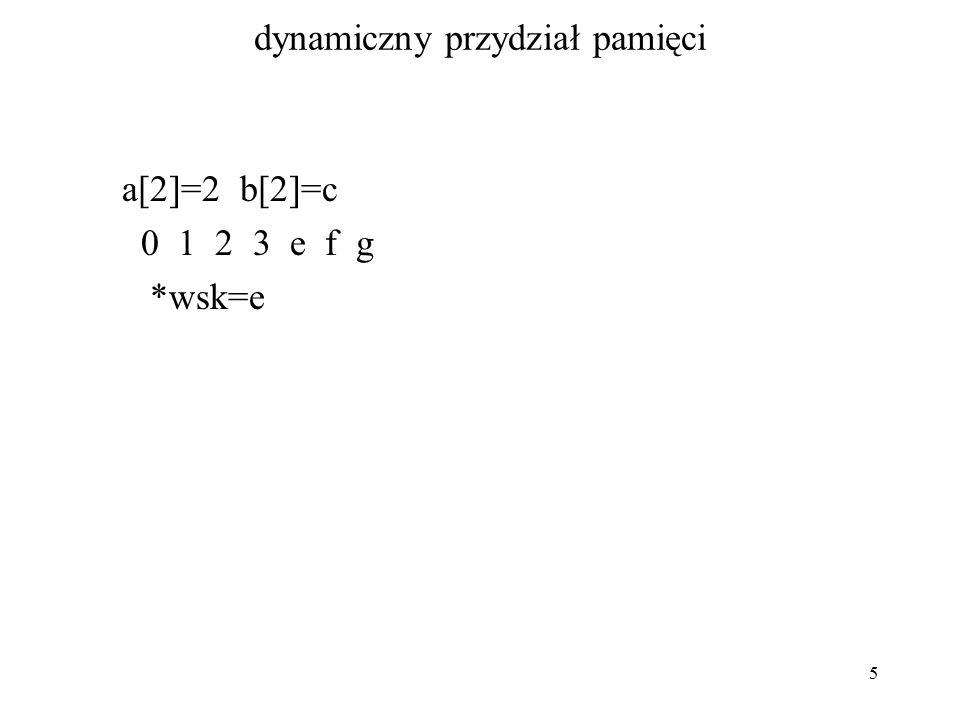 5 dynamiczny przydział pamięci a[2]=2 b[2]=c 0 1 2 3 e f g *wsk=e