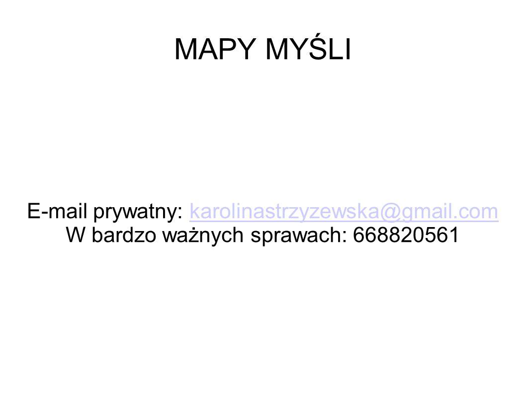MAPY MYŚLI E-mail prywatny: karolinastrzyzewska@gmail.comkarolinastrzyzewska@gmail.com W bardzo ważnych sprawach: 668820561