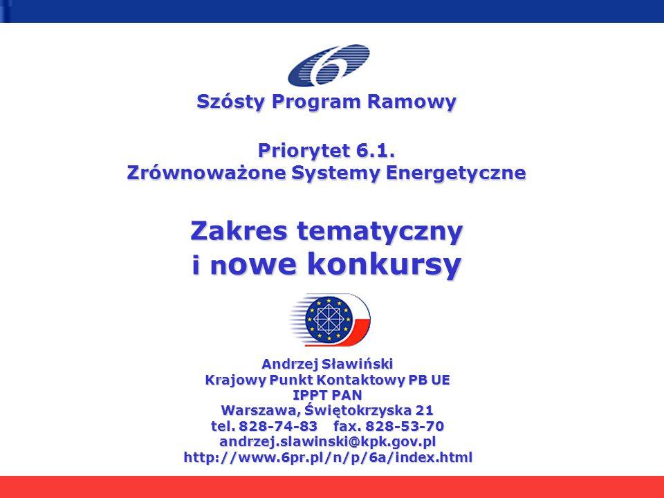 Szósty Program Ramowy Priorytet 6.1. Zrównoważone Systemy Energetyczne Zakres tematyczny i n owe konkursy Andrzej Sławiński Krajowy Punkt Kontaktowy P