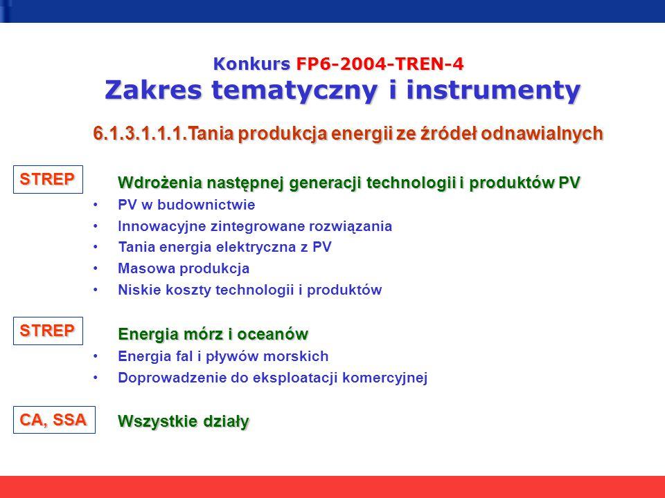 Konkurs FP6-2004-TREN-4 Zakres tematyczny i instrumenty 6.1.3.1.1.1.Tania produkcja energii ze źródeł odnawialnych Wdrożenia następnej generacji techn