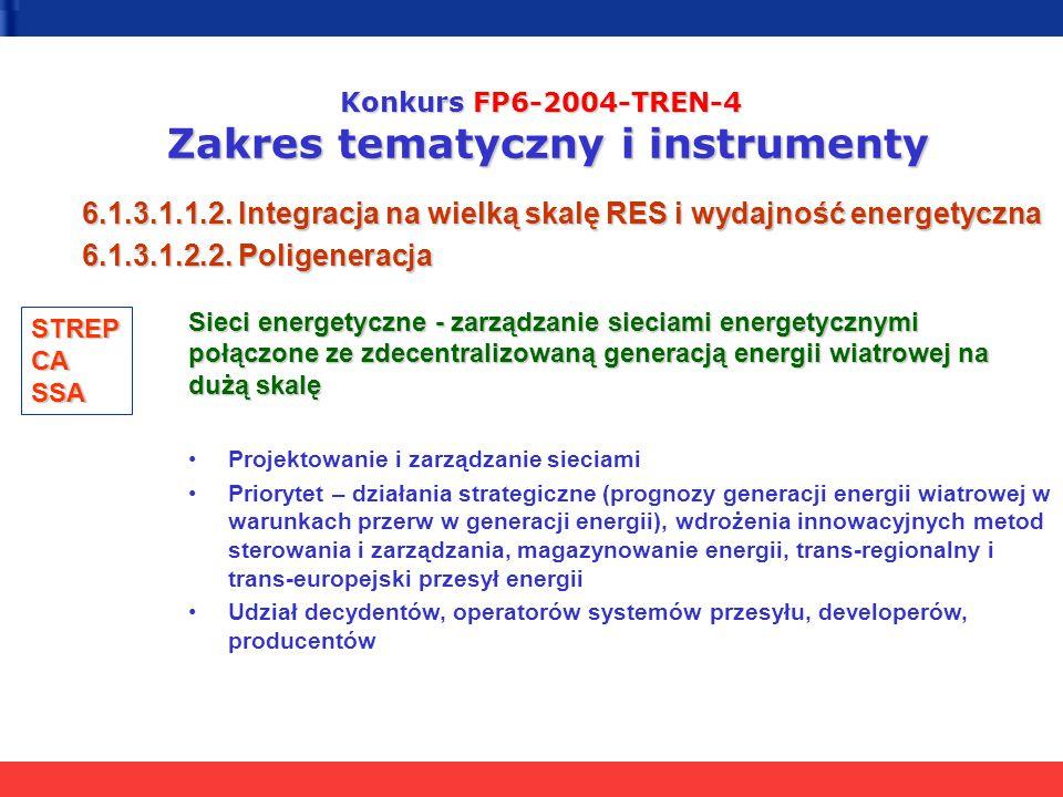 Konkurs FP6-2004-TREN-4 Zakres tematyczny i instrumenty 6.1.3.1.1.2. Integracja na wielką skalę RES i wydajność energetyczna 6.1.3.1.2.2. Poligeneracj