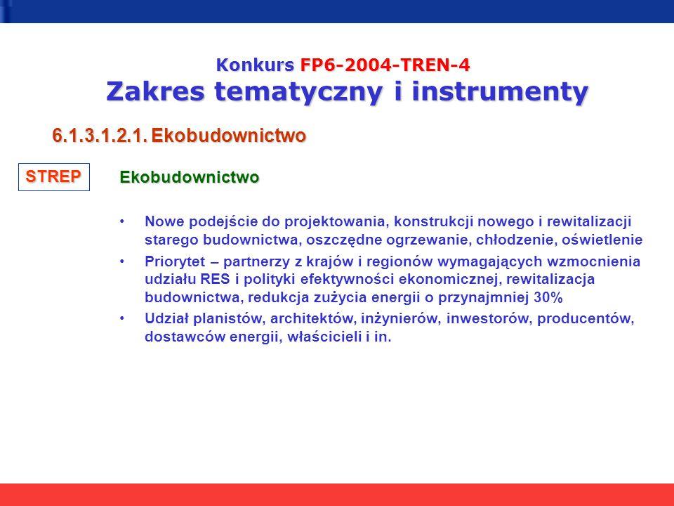 Konkurs FP6-2004-TREN-4 Zakres tematyczny i instrumenty 6.1.3.1.2.1. Ekobudownictwo Ekobudownictwo Nowe podejście do projektowania, konstrukcji nowego