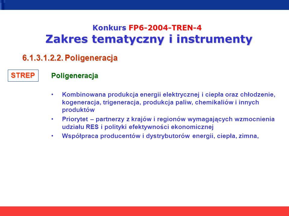 Konkurs FP6-2004-TREN-4 Zakres tematyczny i instrumenty 6.1.3.1.2.2. Poligeneracja Poligeneracja Kombinowana produkcja energii elektrycznej i ciepła o
