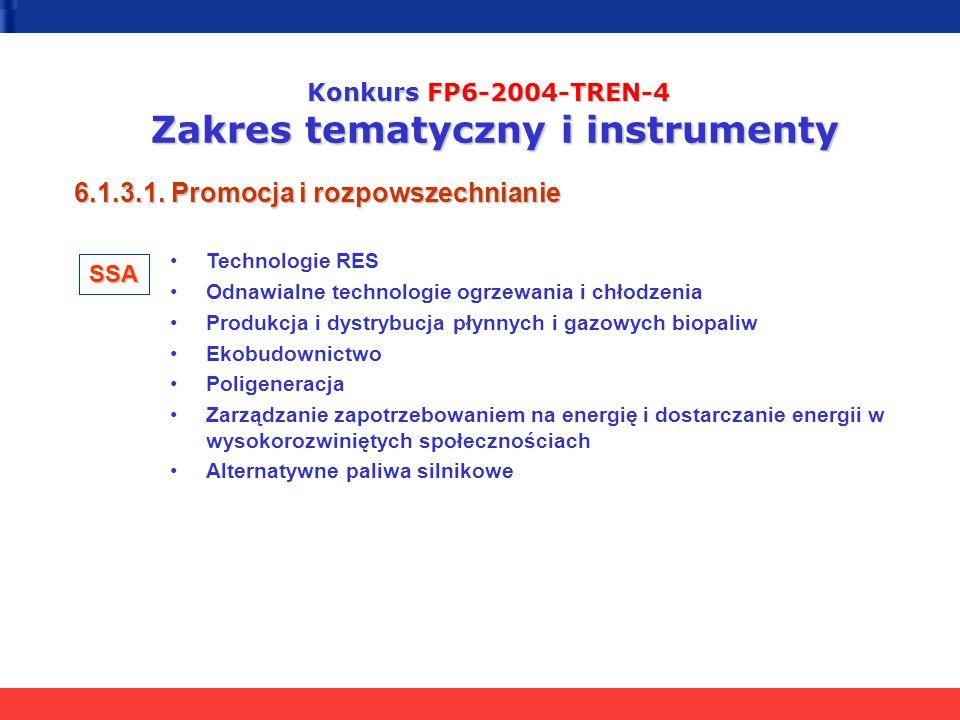 Konkurs FP6-2004-TREN-4 Zakres tematyczny i instrumenty 6.1.3.1. Promocja i rozpowszechnianie Technologie RES Odnawialne technologie ogrzewania i chło