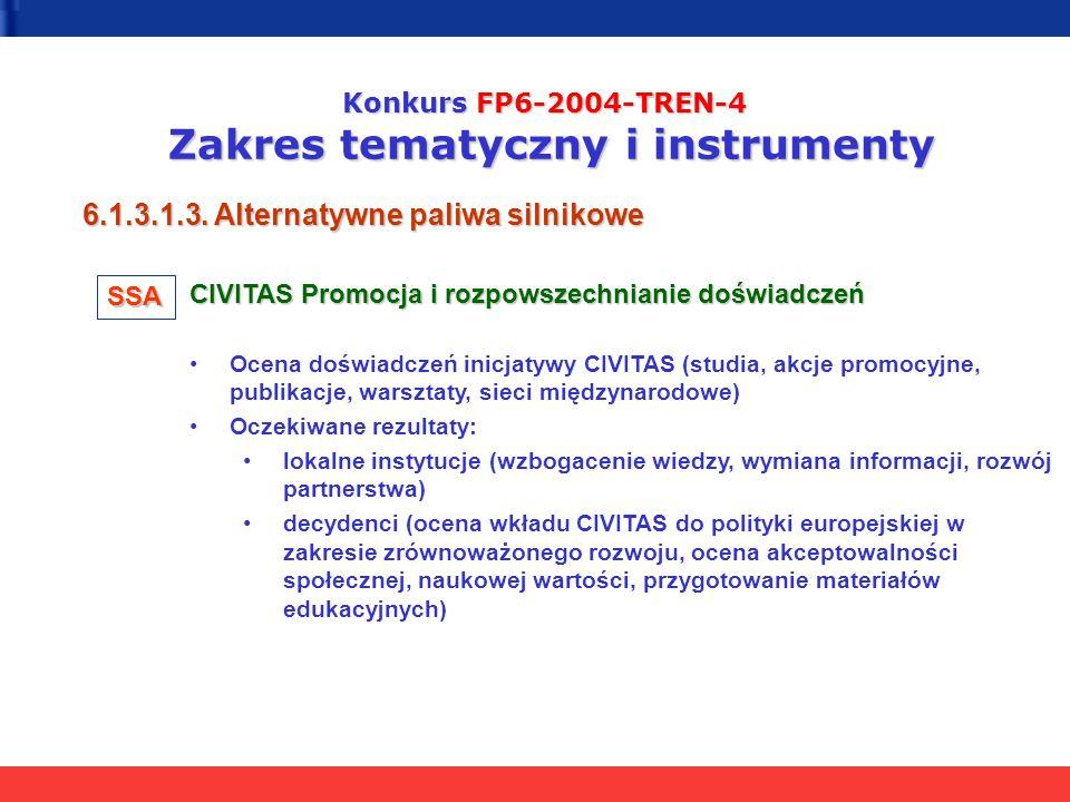 Konkurs FP6-2004-TREN-4 Zakres tematyczny i instrumenty 6.1.3.1.3. Alternatywne paliwa silnikowe CIVITAS Promocja i rozpowszechnianie doświadczeń Ocen