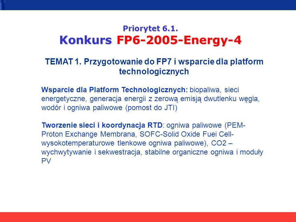 Priorytet 6.1. Konkurs FP6-2005-Energy-4 TEMAT 1. Przygotowanie do FP7 i wsparcie dla platform technologicznych Wsparcie dla Platform Technologicznych