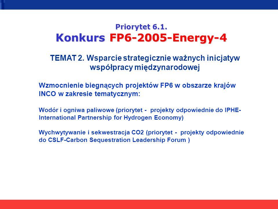 Priorytet 6.1. Konkurs FP6-2005-Energy-4 TEMAT 2. Wsparcie strategicznie ważnych inicjatyw współpracy międzynarodowej Wzmocnienie biegnących projektów