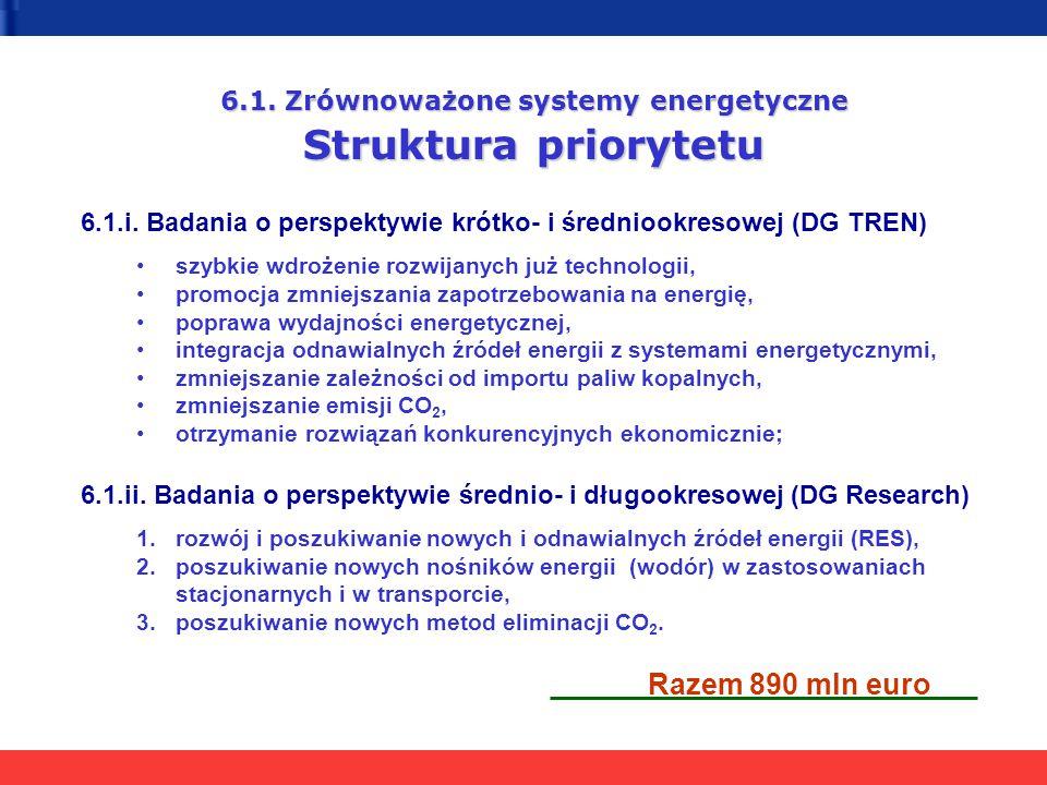 6.1. Zrównoważone systemy energetyczne Struktura priorytetu 6.1.i. Badania o perspektywie krótko- i średniookresowej (DG TREN) szybkie wdrożenie rozwi
