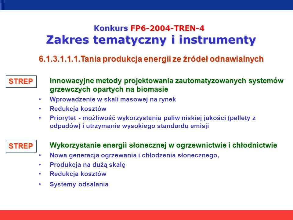 Konkurs FP6-2004-TREN-4 Zakres tematyczny i instrumenty 6.1.3.1.1.1.Tania produkcja energii ze źródeł odnawialnych Innowacyjne metody projektowania za