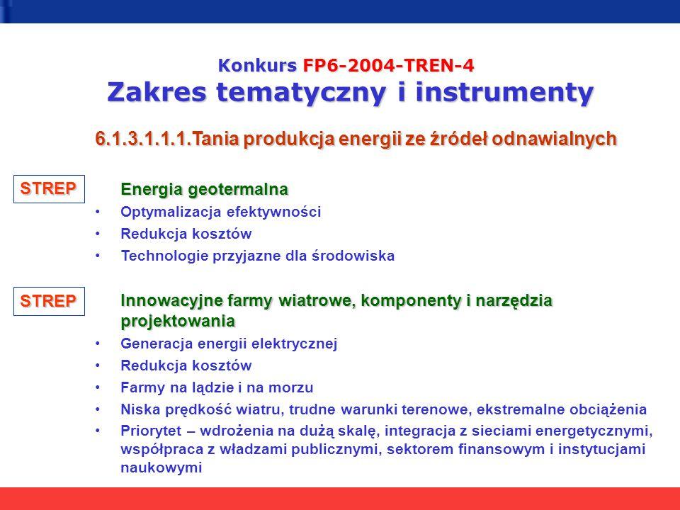 Konkurs FP6-2004-TREN-4 Zakres tematyczny i instrumenty 6.1.3.1.1.1.Tania produkcja energii ze źródeł odnawialnych Energia geotermalna Optymalizacja e