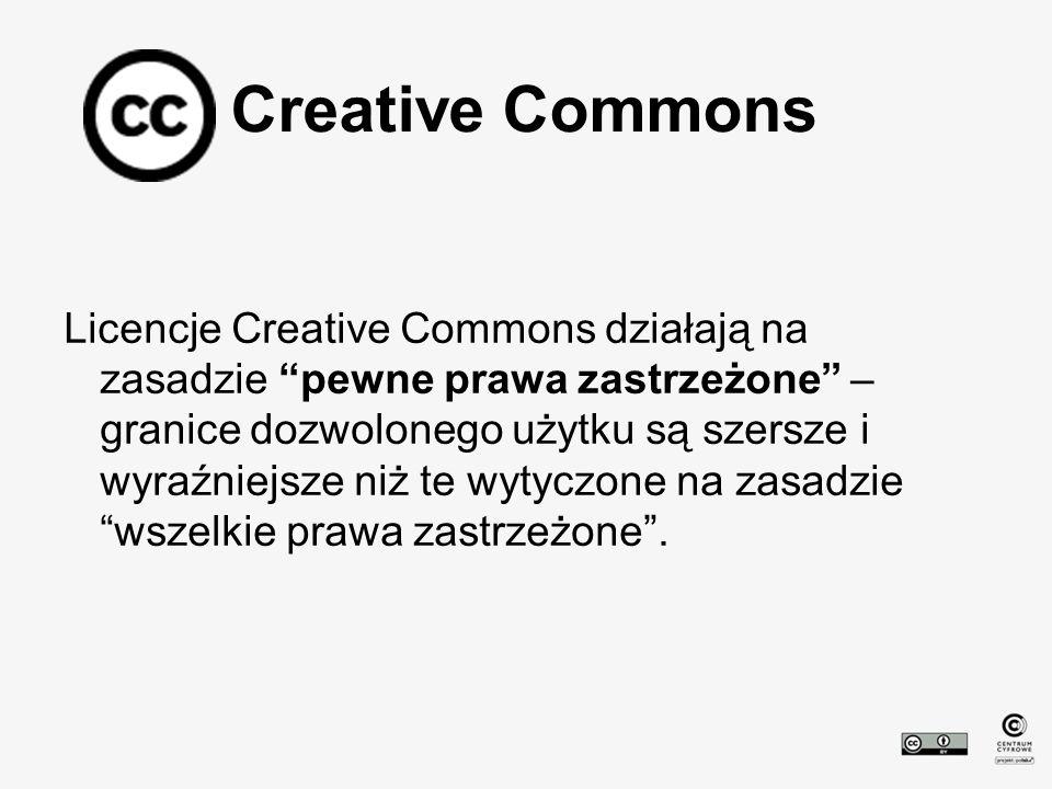 Creative Commons Licencje Creative Commons działają na zasadzie pewne prawa zastrzeżone – granice dozwolonego użytku są szersze i wyraźniejsze niż te wytyczone na zasadzie wszelkie prawa zastrzeżone .