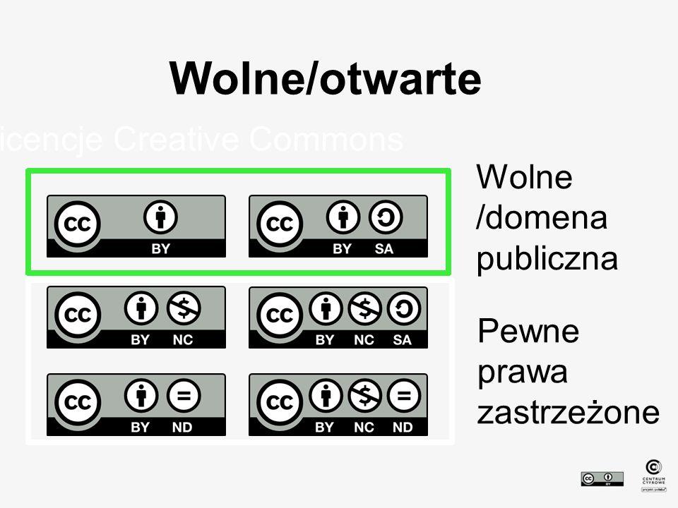 Wolne/otwarte Licencje Creative Commons Wolne /domena publiczna Pewne prawa zastrzeżone