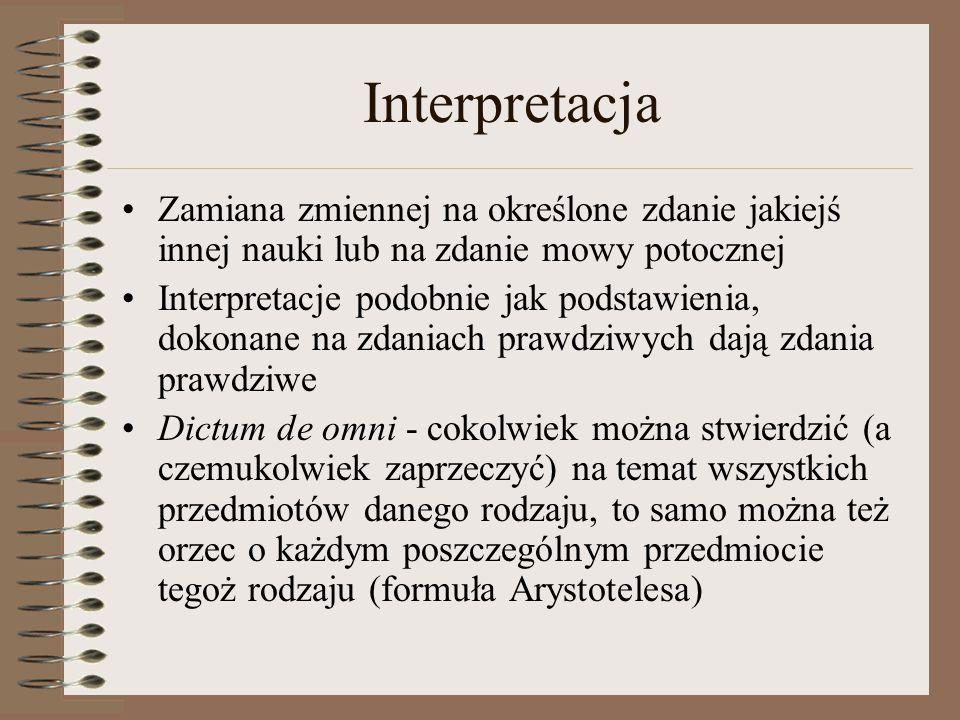 Interpretacja Zamiana zmiennej na określone zdanie jakiejś innej nauki lub na zdanie mowy potocznej Interpretacje podobnie jak podstawienia, dokonane